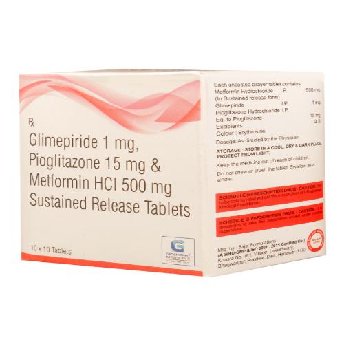 GLIMEPIRIDE 1 MG + PIOGLITAZONE 15 MG + METFORMIN HYDROCHLORIDE  500 MG SR