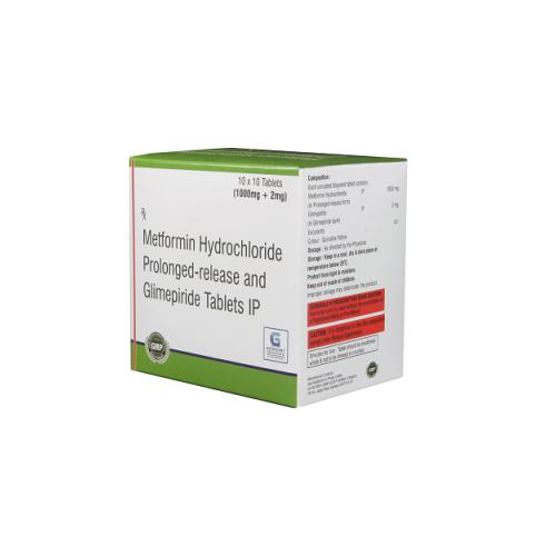 GLIMEPIRIDE 2 MG + METFORMIN HYDROCHLORIDE 1000 MG PR