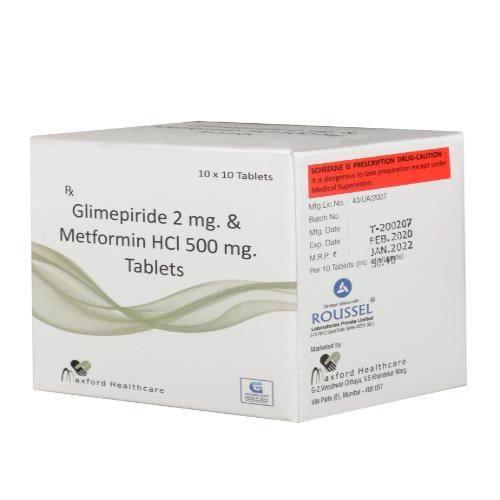 GLIMEPIRIDE 2 MG + METFORMIN HYDROCHLORIDE 500 MG