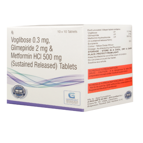 VOGLIBOSE 0.3 MG + GLIMEPIRIDE 2 MG + METFORMIN HYDROCHLORIDE 500 MG SR