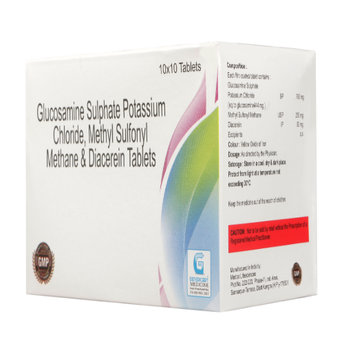 GLUCOSAMINE SULPHATE POTASSIUM CHLORIDE 750 MG + METHYL SULFONYL METHANE 200 MG + DIACEREIN 50 MG