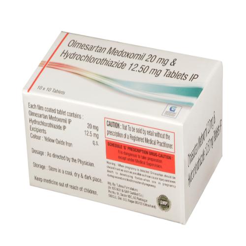 OLMESARTAN MEDOXOMIL 20 MG + HYDROCHLOROTHIAZIDE 12.50 MG