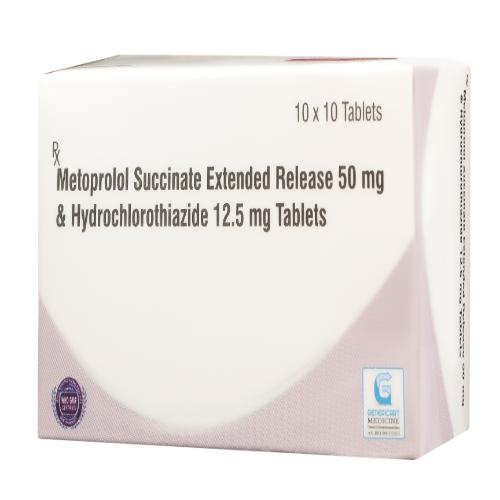 METOPROLOL SUCCINATE ER 50 MG +  HYDROCHLOROTHIAZIDE 12.5 MG