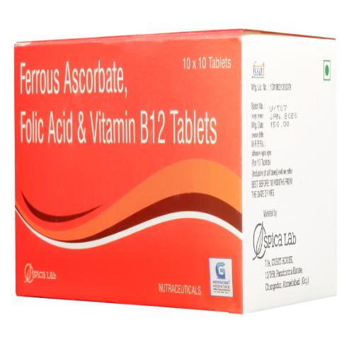 FERROUS ASCORBATE 100 MG +  FOLIC ACID 1.5 +  VITAMIN B12 5 MCG