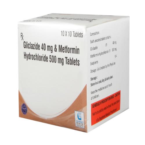 GLICLAZIDE 40 MG + METFORMIN HYDROCLORIDE 500 MG